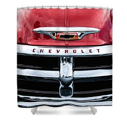 1955 Chevrolet 3100 Pickup Truck Grille Emblem Shower Curtain by Jill Reger