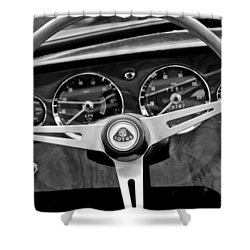 1965 Lotus Elan S2 Steering Wheel Emblem Shower Curtain by Jill Reger