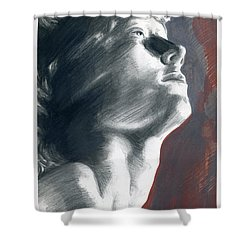Shower Curtain featuring the painting A Boy Named Faith by Rene Capone
