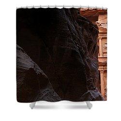 A Glimpse Of Al Khazneh From The Siq In Petra Jordan Shower Curtain by Robert Preston