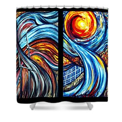 Shower Curtain featuring the painting A Ray Of Hope by Harsh Malik