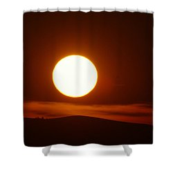 A Slow Red Sunset Shower Curtain by Jeff Swan
