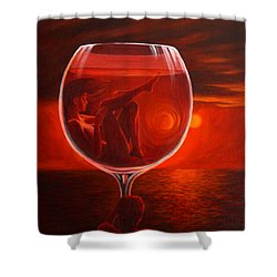 A Toast To Love And Wine Shower Curtain by Sandi Whetzel