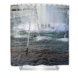 Shower Curtain featuring the photograph A World War Fountain by Cora Wandel