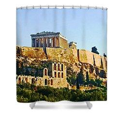 Acropolis Shower Curtain by Ellen Henneke