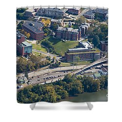 aerials of WVVU campus Shower Curtain