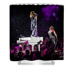 Aerosmith Steven Tyler Joe Perry In Concert Shower Curtain by Jani Bryson