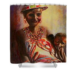 Shower Curtain featuring the painting African Mother And Child by Sher Nasser