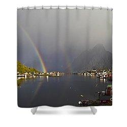 After The Rain In Reine Shower Curtain by Heiko Koehrer-Wagner