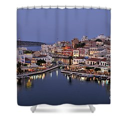 Agios Nikolaos City During Dusk Time Shower Curtain