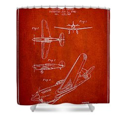 Airplane Patent Drawing From 1943 Shower Curtain by Aged Pixel