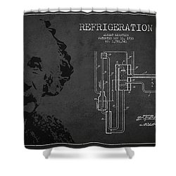 Albert Einstein Patent Drawing From 1930 Shower Curtain by Aged Pixel