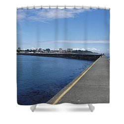 Shower Curtain featuring the photograph Along The Breakwater by Marilyn Wilson
