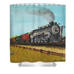 American Express Shower Curtain by Linda Simon
