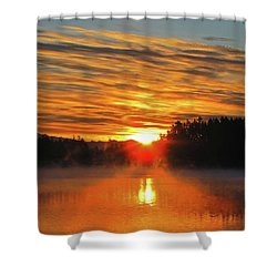 Shower Curtain featuring the photograph American Lake Sunrise by Tikvah's Hope