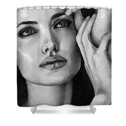Angelina Jolie Black And Whire Shower Curtain