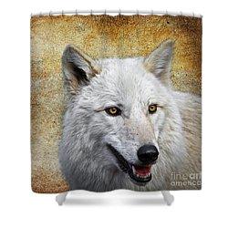 Arctic White Wolf  Shower Curtain by Steve McKinzie