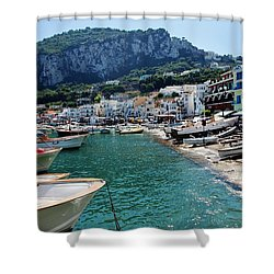 Arrival To Capri  Shower Curtain by Dany Lison