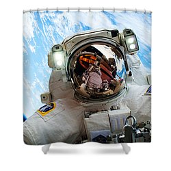 Astronaut Selfie During Spacewalk By Nasa Shower Curtain
