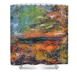 Shower Curtain featuring the painting At Dawn by Dragica  Micki Fortuna