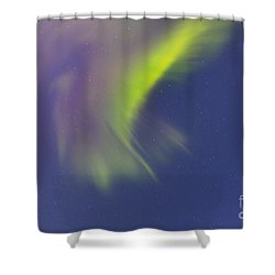 Aurora Borealis With Moonlight Shower Curtain by Joseph Bradley