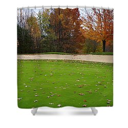 Autumn On The Green Shower Curtain by Randy Pollard