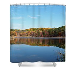 Shower Curtain featuring the photograph Autumn Pond by Aimee L Maher Photography and Art Visit ALMGallerydotcom