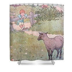 Baa Baa Black Sheep Shower Curtain by Leonard Leslie Brooke