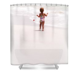 Baby Chases Red Ball Shower Curtain by Valerie Reeves
