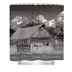 Barn And Tetons Shower Curtain by Jerry Fornarotto