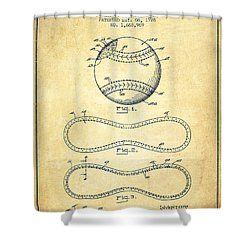Baseball Patent Drawing From 1928 Shower Curtain