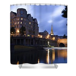 Bath City Spa Viewed Over The River Avon At Night Shower Curtain by Mal Bray