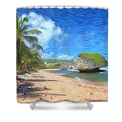 Bathsheba Beach In Barbados Shower Curtain by Verena Matthew