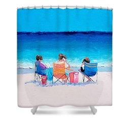 Beach Painting 'girl Friends' By Jan Matson Shower Curtain by Jan Matson