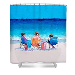 Beach Painting 'girl Friends' By Jan Matson Shower Curtain
