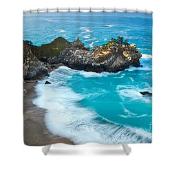 Beautiful Mcway Falls Along The Big Sur Coast. Shower Curtain