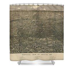 Birdseye Map Of Denver Colorado - 1887 Shower Curtain by Eric Glaser