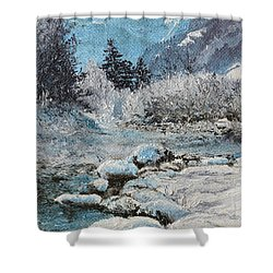 Shower Curtain featuring the painting Blue Winter by Mary Ellen Anderson