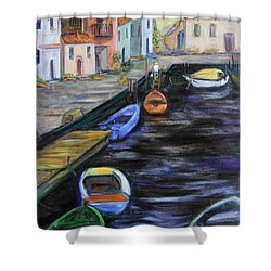 Shower Curtain featuring the painting Boats In Front Of The Buildings IIi by Xueling Zou