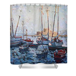 Boats In Rhodes Greece  Shower Curtain by Ylli Haruni