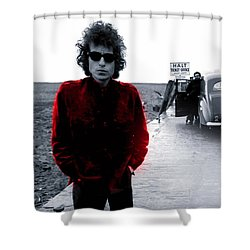 Shower Curtain featuring the mixed media Bob Dylan by Marvin Blaine