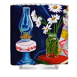 2 Books And A Lamp Shower Curtain by Laura Forde
