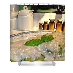 Shower Curtain featuring the photograph Brasied Courgettes With Crabmeat Sauce by Katy Mei