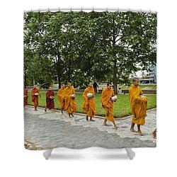 Buddhist Monks In Battambang Cambodia Shower Curtain