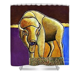 Shower Curtain featuring the painting Buffalo 1 by Joseph J Stevens
