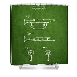 Bugle Call Instrument Patent Drawing From 1939 - Green Shower Curtain by Aged Pixel
