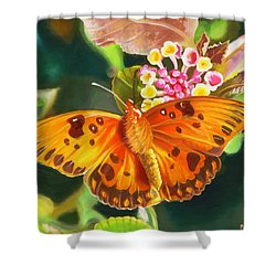 Shower Curtain featuring the painting Butterfly And Lantana by Phyllis Beiser