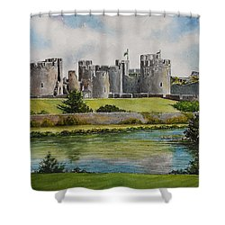 Caerphilly Castle  Shower Curtain by Andrew Read