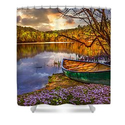 Canoe At The Lake Shower Curtain by Debra and Dave Vanderlaan