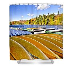 Canoes On Autumn Lake Shower Curtain by Elena Elisseeva